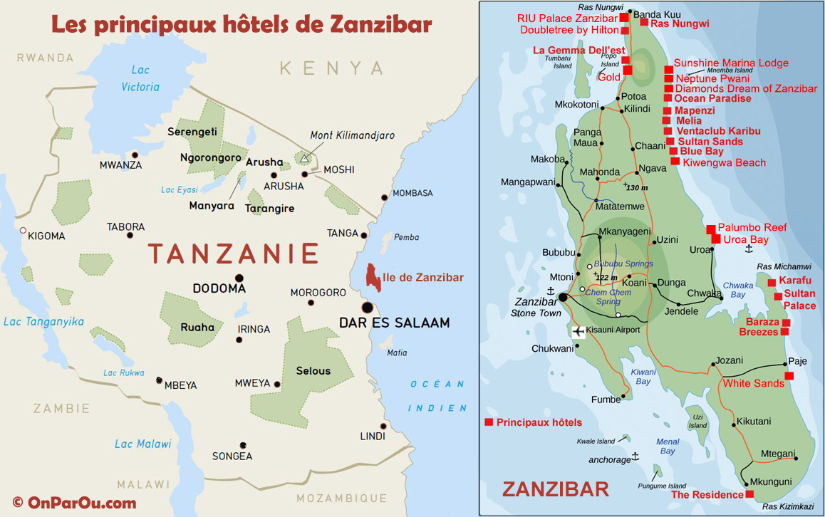 carte du zanzibar - Photo