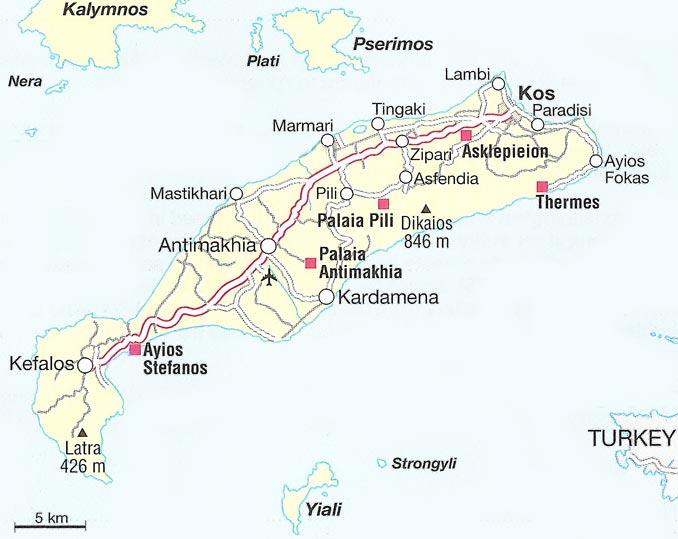 ile de kos carte L'île Grecque de Kos : La Star de l'Eté !   Le Blog d'OnParOu.