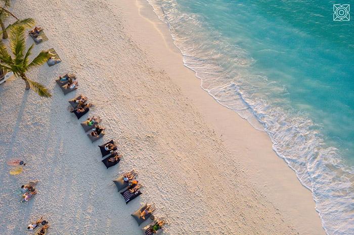 Vue de la plage de Nungwi où la qualité de baignade est exceptionnelle et permanente.